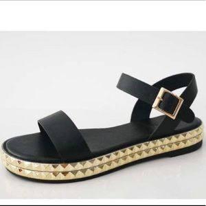 Black sandals with 2 layers of gold studs
